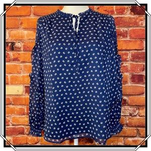 TALBOTS Long Sleeve Peasant Blouse In Navy Size S